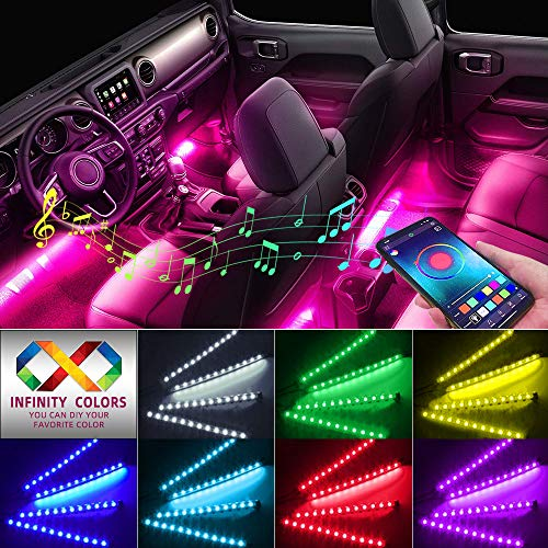 Car Interior Lights, Caferria Car LED Strip Light 4pcs 48 LED App Controller Waterproof Multi DIY...