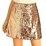 Allegra K Women's Sequin Sparkle Party Night Skirts A-Line Mini Shiny Stretchy Skirt Large Gold