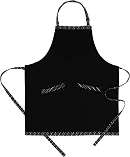 HXOR Cooking Bib Aprons for Women, Adjustable Cotton Cute Polka Dot Aprons with Extra Long Ties and 2 Pockets for Kitchen, Men, Chef, 32x28inch (Black)