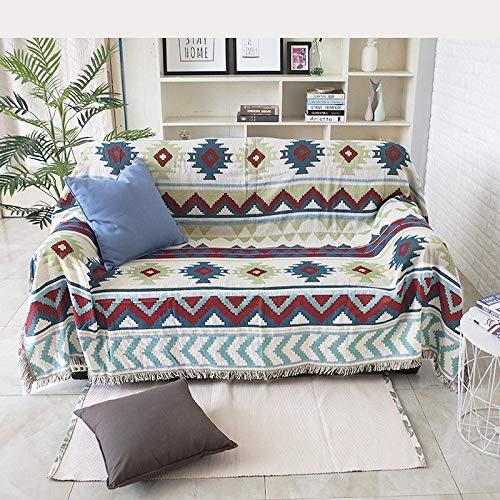kangzhiyuan Manta de punto para sofá de punto, cubierta protectora de ante con borla antideslizante de algodón, funda de cama para decoración del hogar Manta de punto (tamaño: 130 x 160 cm)