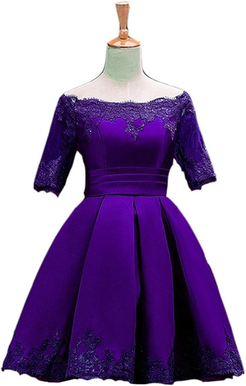 Emmani Women's Bateau Applique Short Middle Sleeve Party Bridesmaid Dresses