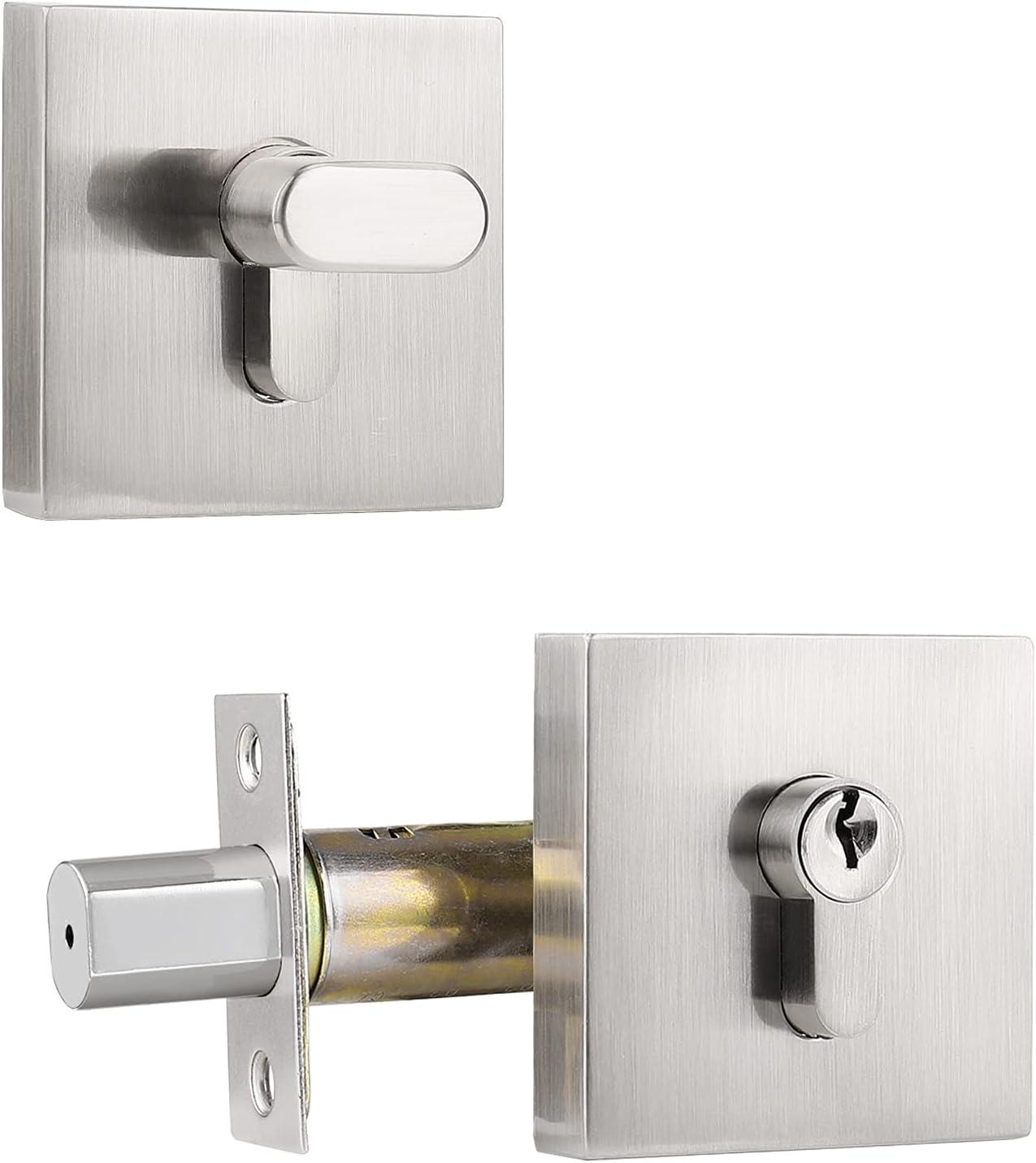 Satin Nickel Finish Exterior Denver Mall or Key Deadbolt Elegant Lock Door Interior
