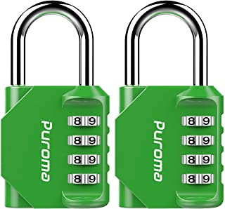 Puroma 2 Pack Combination Lock 4 Digit Padlock for School Gym Locker, Sports Locker, Fence, Toolbox, Case, Hasp Storage (Green)