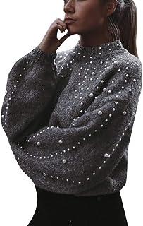 AOGOTO - Maglione casual da donna con ago spesso perlato a maniche lunghe O-Neck Top