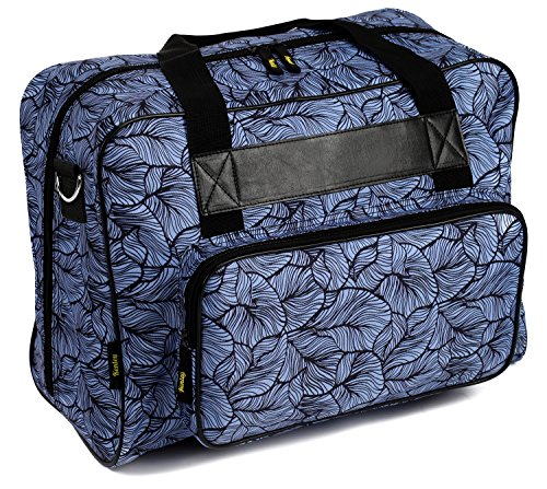 Kenley Sewing Machine Tote Bag - Padded Storage Cover Carrying Case with Pockets and Handles - Universal Fit 18x10x13 inches for Singer Brother Bernina Janome - Midnight Flowers