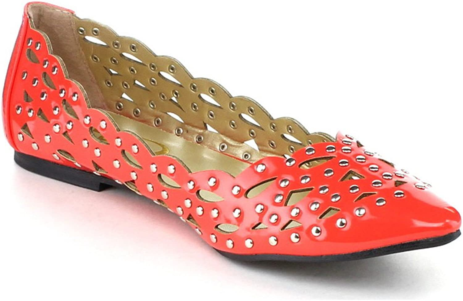 Yoki ABBEY Women's Hot Cut Out Metal Studs Ballet Flat Casual shoes, color RED, Size 9