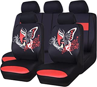 CAR PASS 11 teiliges Autositzbezüge Set, universelle Passform für Fahrzeuge, Autos, SUVs, Vans, Airbag kompatibel (schwarz mit rot)