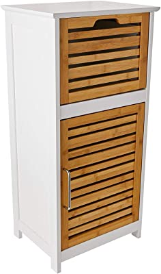 Relaxdays Armoire Commode Salle de Bain Meuble Rangement tiroir, Bambou, Blanc, 30 x 40 x 83 cm