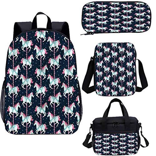 Baby 15 pulgadas mochila con bolsa de almuerzo conjunto de estuche, carrusel caballos niños 4 en 1 mochila conjuntos