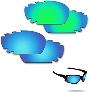 Anti-Saltwater Polarized Replacement Lenses for Oakley Jawbone Vented Racing Jacket Sunglasses 2 Pairs Packed