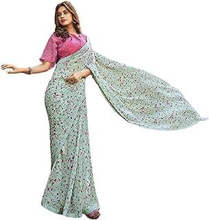بلوزة ناعمة للصيف بتصميم ساري من قماش جورجيت ساري مطبوع فاخرة للسيدات هندي فاتح 6221
