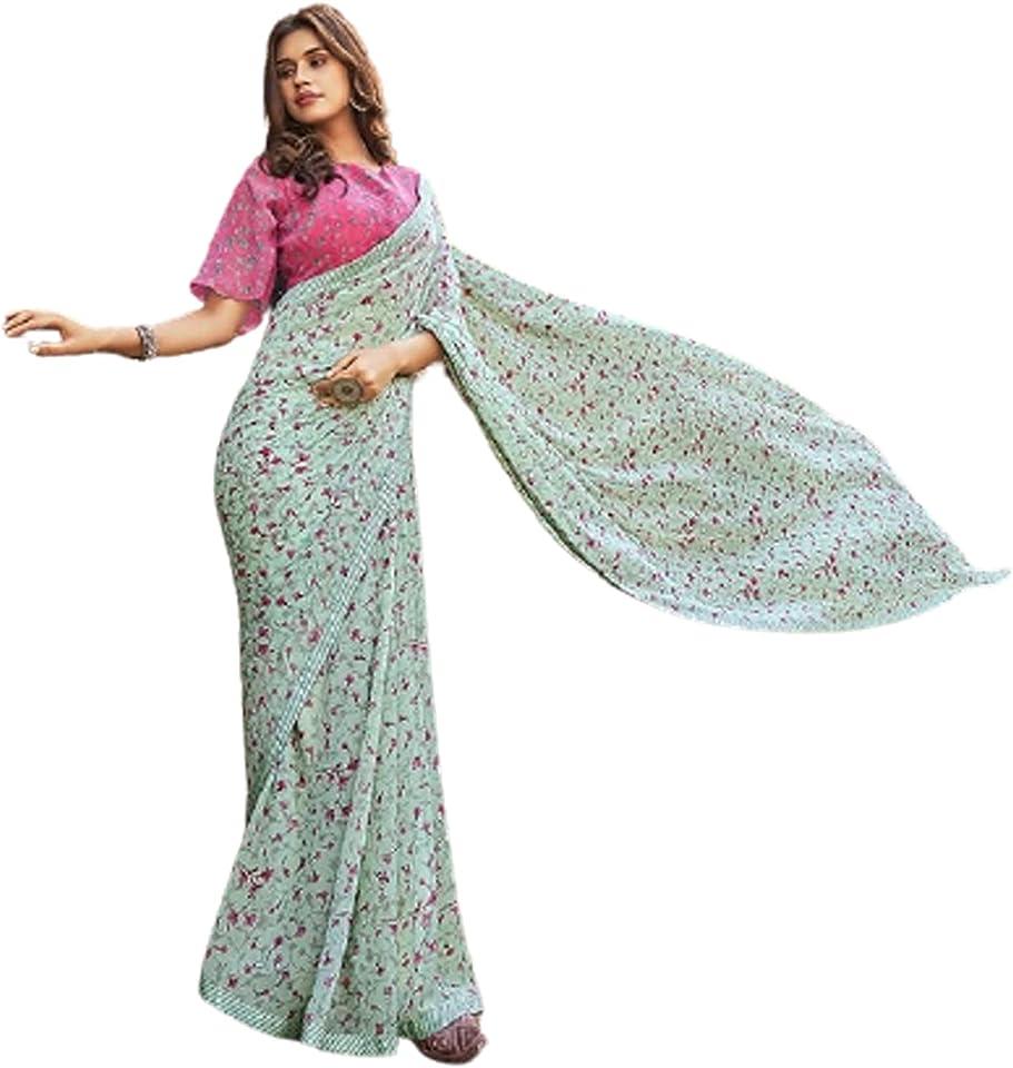 Pastel Indian Woman fancy Printed Georgette Sari Designer Summer Soft Saree Contrast Blouse 6221