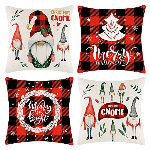 rinerly Christmas Throw Pillow Covers Christmas Pillows Decorative Christma Gnome Pillow Cover,Decorative Christmas Cushion Covers,Xmas Pillow Cover Gifts,Square 18X18 inch-4-Pack