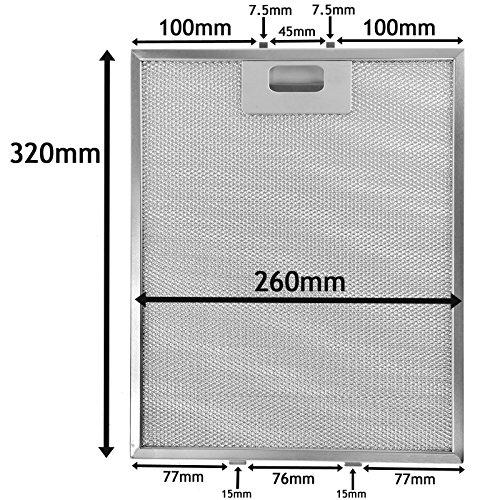 SPARES2GO Metalen gaasfilter voor alle merken afzuigkap/afzuigkap (zilver, 320 x 260 mm)