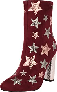 Cambridge Select Women's Closed Almond Toe Glitter Sequin Star Chunky Wrapped Block Heel Mid-Calf Boot