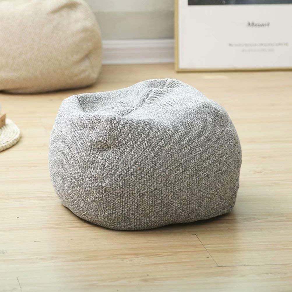 Square Unstuffed Pouf 4 years warranty Nippon regular agency Cover-Soft Cover Linen Fabric Cotton