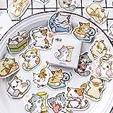 BLOUR 45 Hoja/Set Cute Animal Cat Sticker DIY Scrapbooking Label School Stationery Kawaii Cartoon Crafts Decorations Stickers