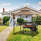 8.3x4.95ft Outdoor Grill Gazebo,Patio Barbecue Canopy with Serving Shelf and Storage Hooks and Vented Soft Top,w/Heavy-Duty Steel Frame Sunshade Awning, (Beige)