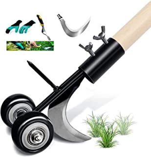 Manual Weeds Snatcher, Weed Cleaning Tool Stand Up Weed Puller Tool Hook Weed Remover Extractor Tool, Two Blades, with Glo...