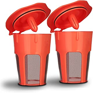 BRBHOM 2 Refillable K Carafe Coffee Pods K-Carafe Reusable Capsules 2.0 K-Carafe Pods Coffee Filters Holder for Keurig K200, K250, K300, K350, K360, K400, K450, K460, K500, K550, K560 Brewing Machines