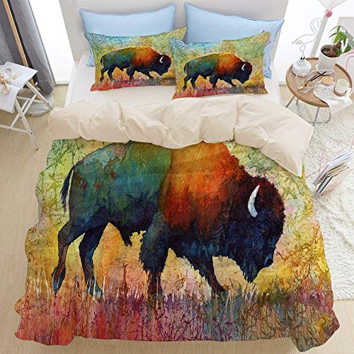 779 Bedding duvet cover,bison buffalo american watercolor colorful animal batik nature wildlife western bull wild cattle,microfiber quilt cover(135x200cm),Pillowcase 50x80cm
