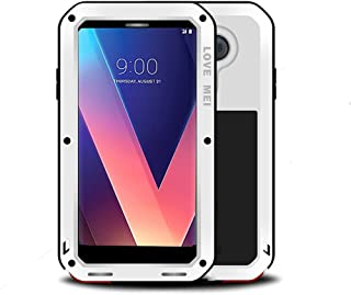 LG V30 Case,Mangix Love Mei Water Resistant Shockproof Aluminum Metal [Outter] Super Anti Shake Silicone [Inner] Fully Body Protection with Tempered Glass Screen Protector for LG V30 (White)