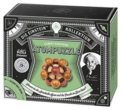moses. 92106 Albert Einsteins Atompuzzle | Professor Puzzle Geduldspiel aus Holz | 2 Aufgaben im Set
