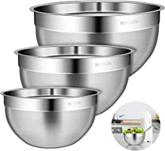 BESTONZON Durable 304 Stainless Steel Mixing Bowls for Serving, Baking, Cooking Supplies, Nesting Set of 3 Includes 1 Qt, 3 Qt, 4 Qt
