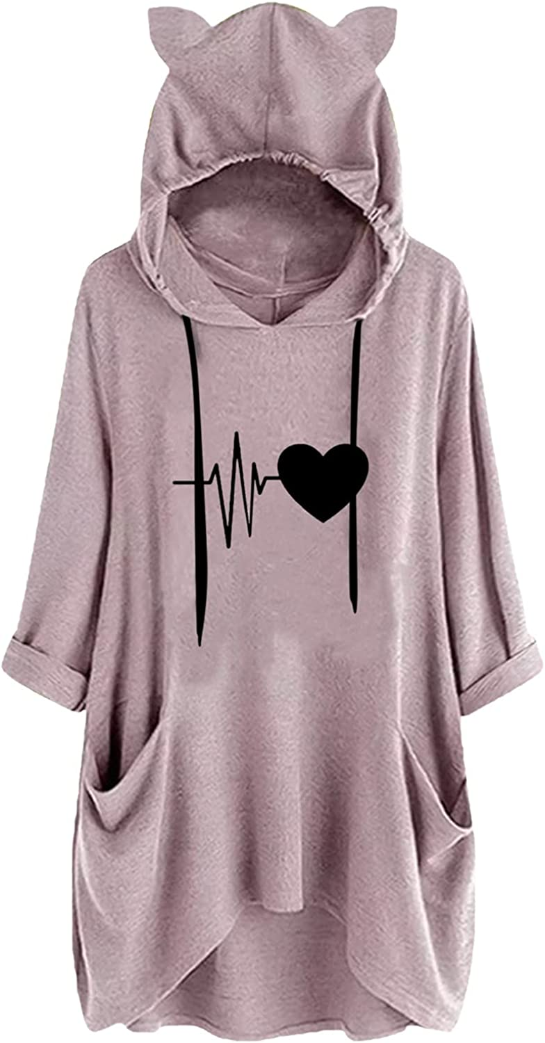 Oversized Sweatshirt for Women,Cat Ears Casual Hoodies Loose Drawstring Batwing Sleeve Baggy Blouse Tops with Pockets