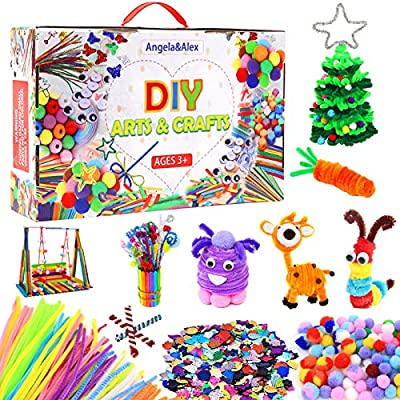 1400+ Pieces Art and Craft Supplies for Kids, Angela&Alex Kids Creative DIY Craft Art Kits Pipe Cleaner Pompom Sets Crafting Activity for Children Age 4 5 6 7 8 9 Years