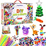 Arts and Crafts Supplies for Kid, Angela&Alex 1400+ Pieces Coloring DIY Creative Crafts Kits Include Pipe Cleaner Pompom for Kids Age 4 5 6 7 8 9 Years -All in One Storage Box