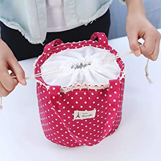 MeterMall Lunch Bags Lunch Package Cloth Polka Dots Thermal Insulated Lunch Food Container Pink polka dots 120
