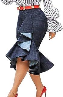VERWIN Mermaid Plain Falbala Mid-Calf High Waist Women's Skirt