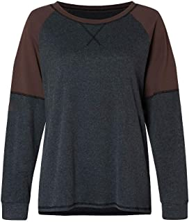 S-Fly Womens Long Sleeve Tops Color Block O-Neck T-shirt Blouse