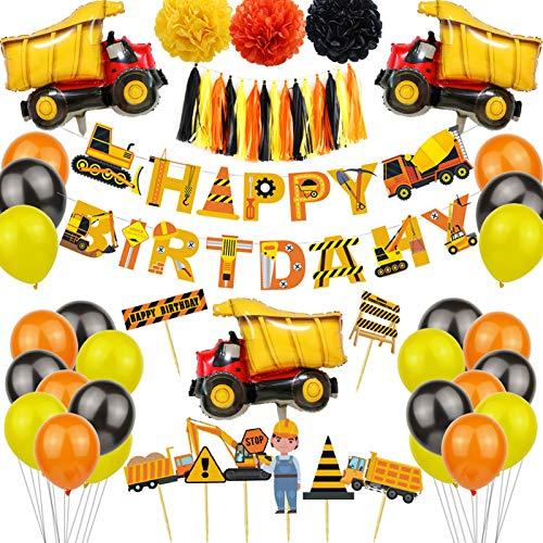 Decoraciones De Cumpleaños Decoracion Cumpleaños Globos cumpleaños niño Globos de Feliz Cumpleaños infantil Cumpleaños Decoracione de Niños Feliz Globo Vehículo Camión Bomberos de Construcción, 54PCS