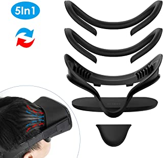KIWI design VR Facial Interface Bracket & PU Leather Foam Face Cover Pad Replacement & Dust Proof Protective Lens Cover & Anti-Leakage Nose Pad Custom Set for Oculus Quest Accessories, 5-Piece Set
