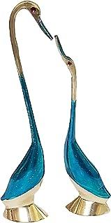 PARIJAT HANDICRAFT Painted Brass of A Pair of Kissing Duck Statue Showpiece Vastu Decorative Figurine for Home or Office T...