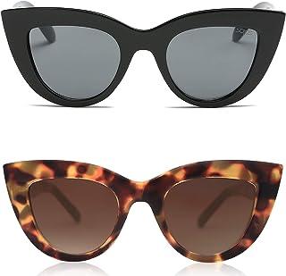 Retro Vintage Cateye Sunglasses for Women Plastic Frame Mirrored Lens SJ2939
