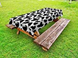 Ambesonne Cow Print Outdoor Tablecloth, Cow Hide Pattern with Spots Farm Life with Cattle Camouflage Animal Skin, Decorative Washable Picnic Table Cloth, 58' X 84', Charcoal Grey