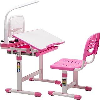 mecor Bureaux pour Enfants Roses avec chaises et tiroirs, Bureaux pour étudiants réglables en Hauteur, Bureaux multifoncti...