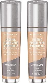 Rimmel lasting finish breathable foundation, true ivory, pack of 2, 1 Fl Oz