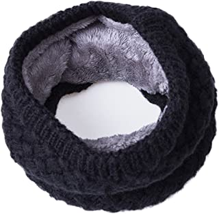 Infinity Scarf Winter Scarves Chunky Neck Warmer Scarfs for Women Men Scarves Black Knit Scarf