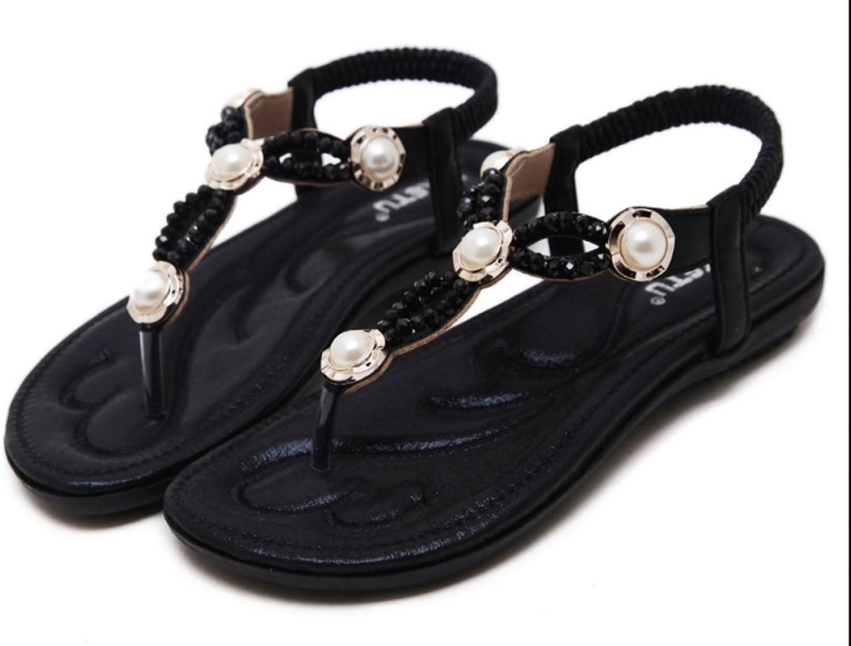 Respeedime Fashion Women Sandals Beaded Diamond Pearl Flat Beach shoes Wholesale