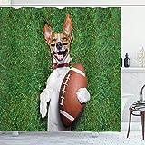 EdCott Football Chien Tenant Ballon Rugby Rire drôle Blague Image Imprimer Crochet Fibre Polyester Salle Bain Maison Salle Facile Nettoyer Rideau pérou Blanc