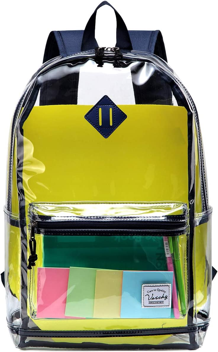 Clear Phoenix Mall Backpack VASCHY Heavy OFFicial site Duty Transparent Through Stadium See