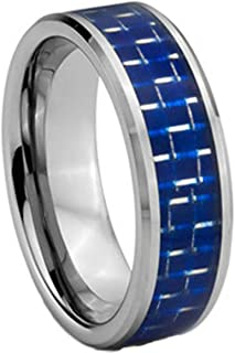 Making up Royal Blue Carbon Fiber Inlaid Steel Color Tungsten Carbide Ring Wedding Engagement Band - 8MM