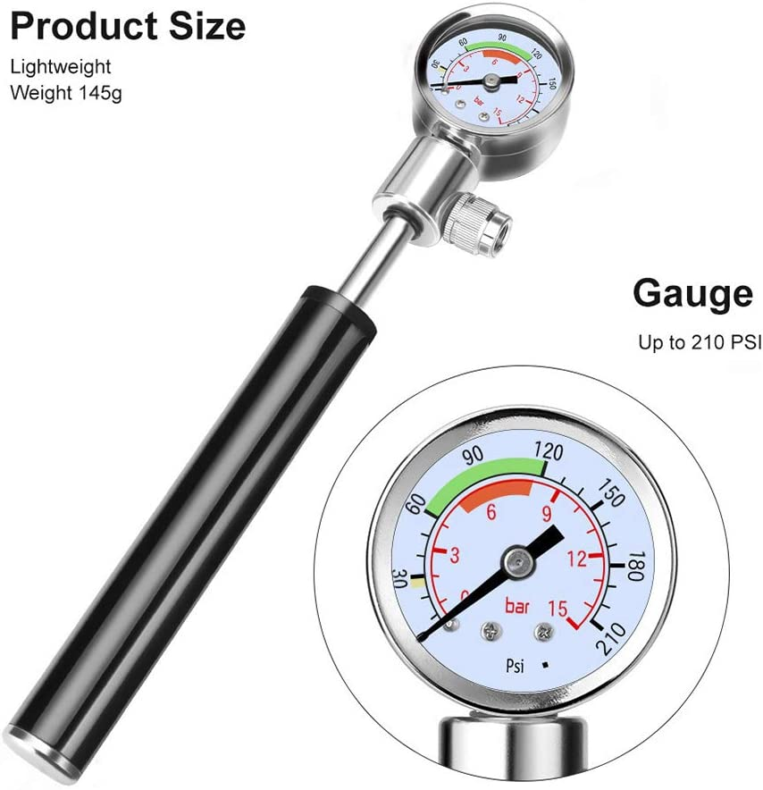 High Pressure Portable Air Tyre Inflator Ball Needle Valve Included with Pressure Gauge for Xiaomi Mijia M365//Pro M187 Kick Scooter Konesky Mini Scooter Tire Pump
