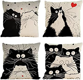 BlueSpace Pillow Covers Soft Cushion Cover Throw Pillow Cases Decorative 18x18 for Sofa Bed Car, Set of 4 Pieces, Cat