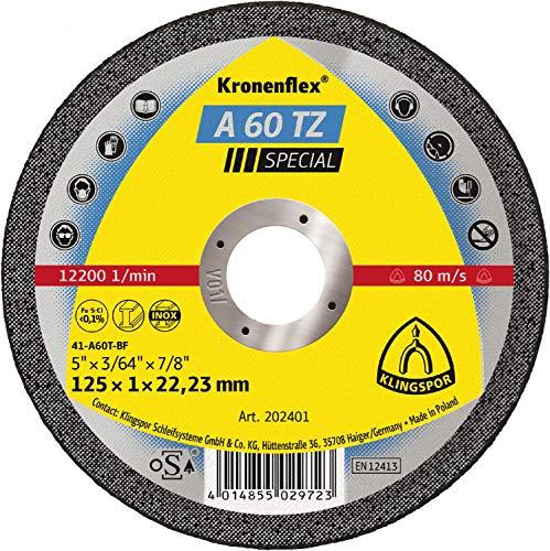 Klingspor 202400 A 60 TZ Disco de Corte, 115 x 1 x 22.23 mm