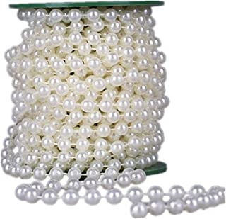 Ltvystore 33Feet/10Meter Length Roll Beige Pearl String Party Garland Wedding Centerpieces Bridal Bouquet Crafts Christmas Tree Decoration,Beads Size 8MM